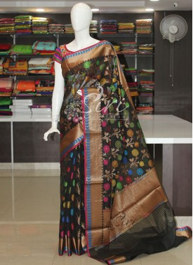 Designer Multi Colour Weave Black Chanderi Saree in Antique Zari