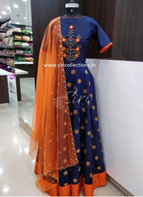 Designer Navy Blue Orange Mirror Work Raw Silk Lehenga