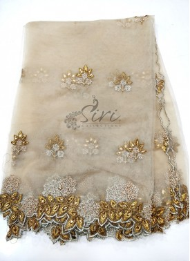 Designer Net Cut Work Dupatta in Silver and Antique Gold Zari