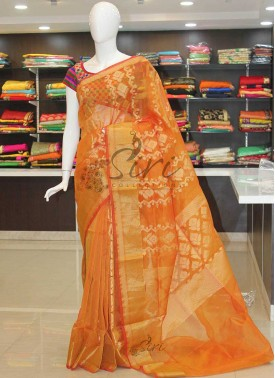 Designer Orange Yellow Double Shade Banarasi Kora Saree