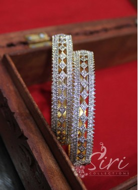 Designer Pair of Bangles in CZ Stones