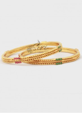 Designer Pair of Bangles in Gold Micro Polish