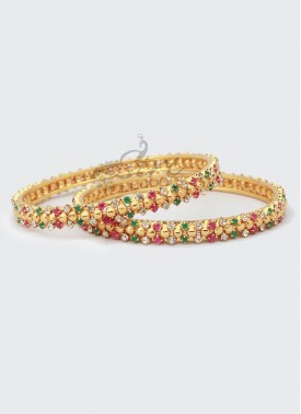Designer Pair of Bangles in Gold Micro Polish and CZ Ruby Emerald Alike Stones