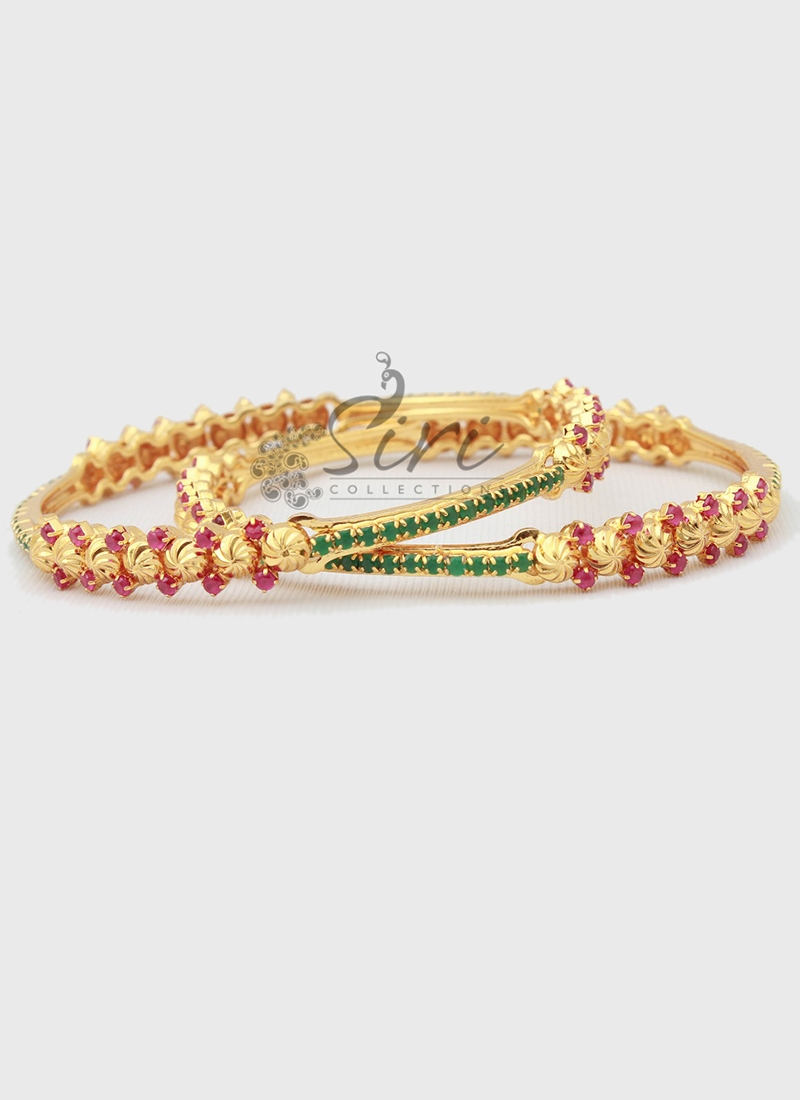 Designer Pair of Bangles in Gold Micro Polish and Ruby Emerald Alike Stones