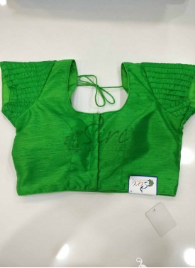 Designer Patterned Raw Silk Stitched Blouse in Green