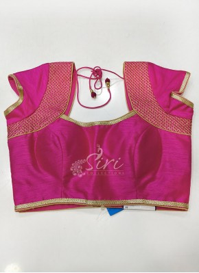 Designer Pink Raw Silk Padded Stitched Blouse
