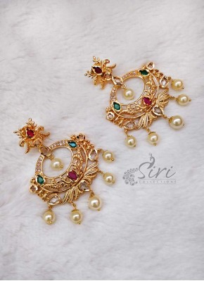 Designer Polki Stone Chand Baalis Earrings
