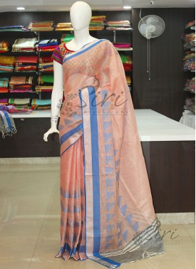 Designer Pure Linen Saree in Peach Blue