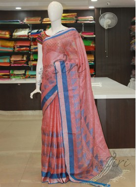Designer Pure Linen Saree in Red White Double Shade