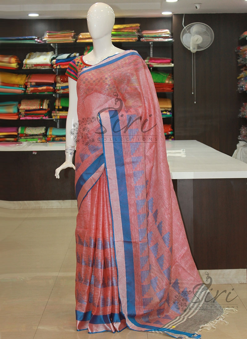 31b3db491 Designer Pure Linen Saree in Red White Double Shade