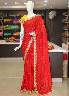 Designer Red Chinon Saree in Fancy Cut Work Border