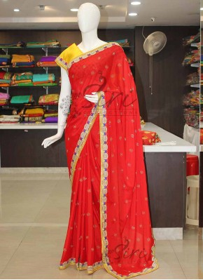 Designer Red Chinon Saree in Fancy Cut Work Borders in Pearl Stone Work