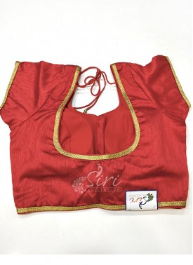 Designer Red Raw Silk Stitched Blouse in self chain stitch lines