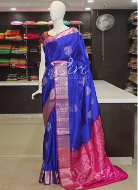Designer Royal Blue Pink Pure Silk Saree in Silver Zari