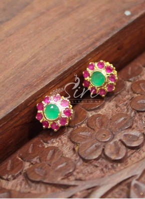 Designer Ruby Emerald Stone Stud Earrings