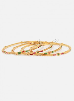 Designer Set of Four Bangles in Gold Micro Polish