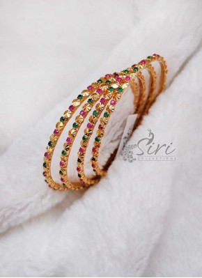 Designer Set of Four Bangles in Ruby and Emerald