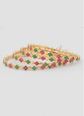 Designer Set of Four Bangles in Ruby Emerald Alike Stones