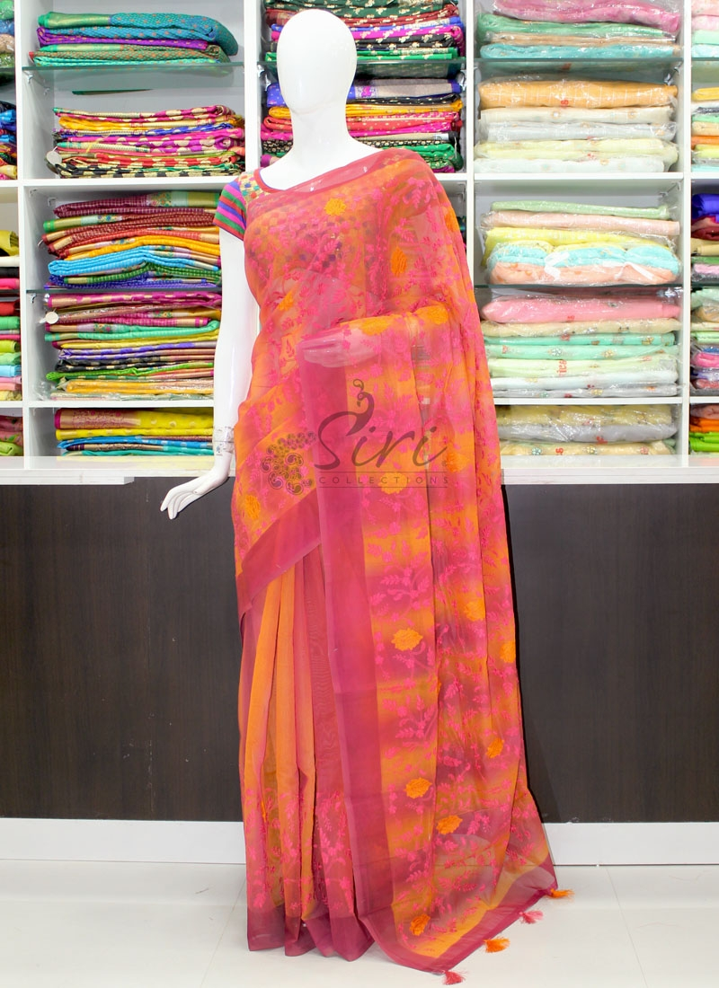 Designer Shaded Chanderi Saree in Embroidery Work