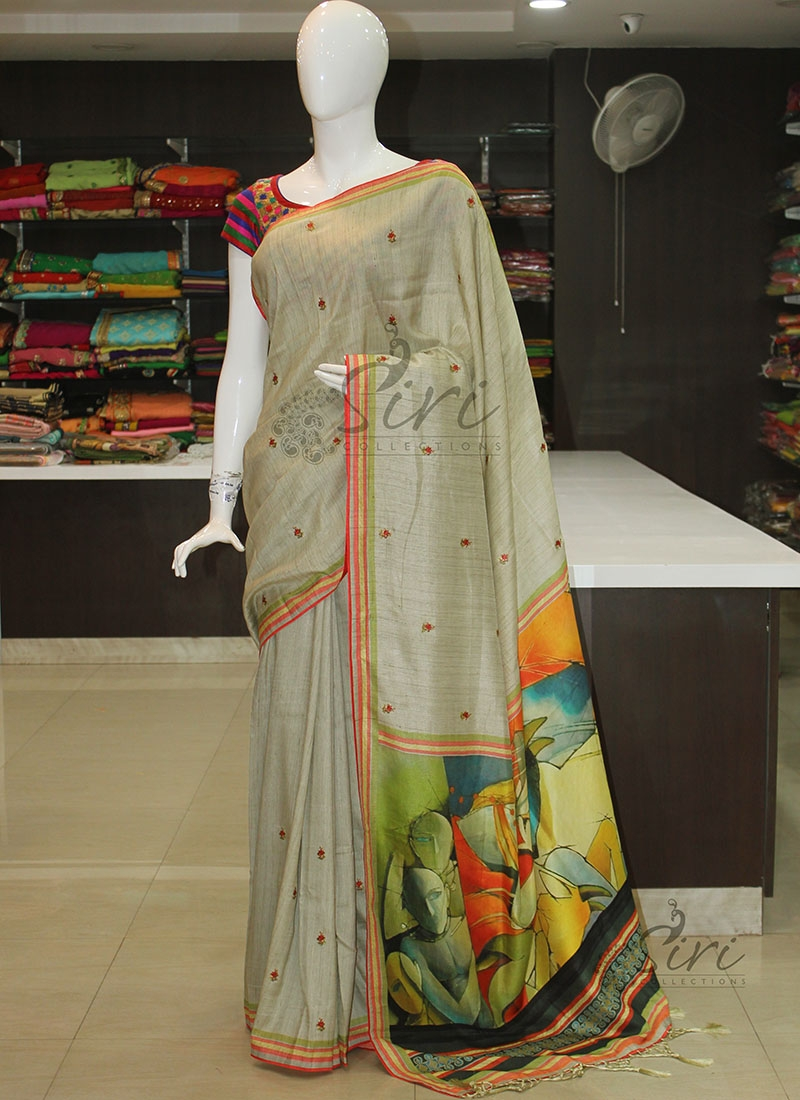 Designer Silk Saree with Embroidery Work Butis and Digital Print