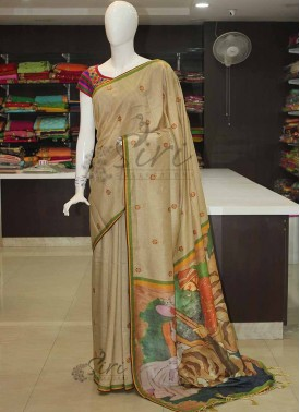 Designer Silk Saree with Embroidery Work Butis and Digital Print Pallu