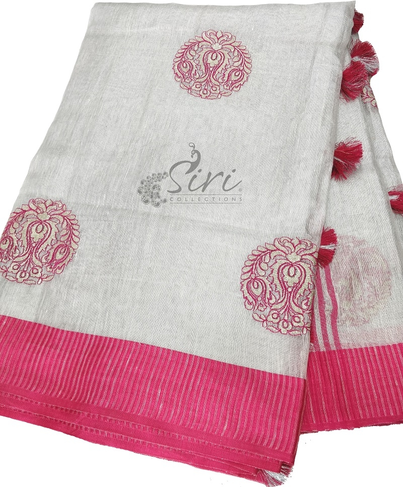 Designer Silver Linen Saree in Embroidery Work with Contrast Border