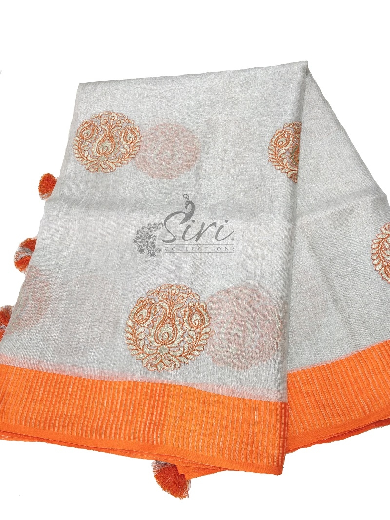 Designer Silver Pure Linen Saree in Embroidery Work with Contrast Border