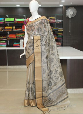 Designer Silver Tissue Saree in Embroidery Work