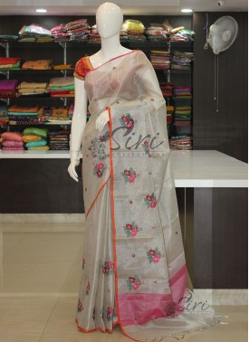 Designer Silver Tissue Saree in Embroidery Work Butis