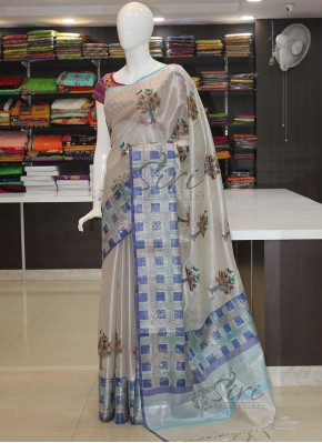 Designer Silver Tissue Saree in Embroidery Work Butis and Printed Border