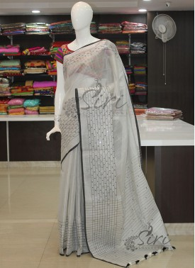Designer Silver Tissue Saree in Mirror Work