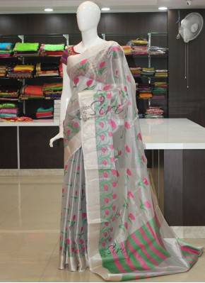 Designer Silver Tissue Saree in Self Weave