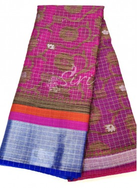 Designer Soft Kora Saree in Jute Jaal and Pallu