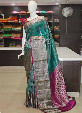 Designer Teal and Purple Pure Silk Saree in Silver Zari