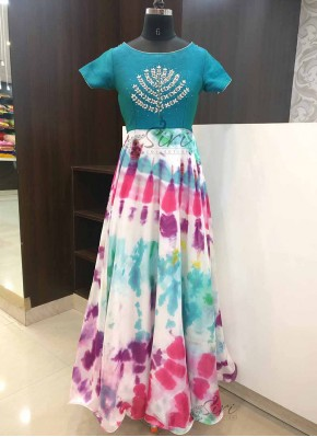 Designer Tie and Dye Long Frock in Hand Work