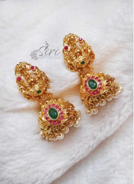 Designer Traditional Lakshmi Jhumkas Earrings