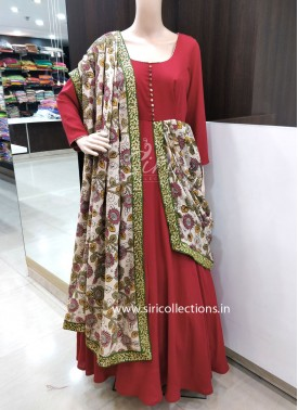 Designer Trendy Long Frock with Stitched Dupatta on One Side
