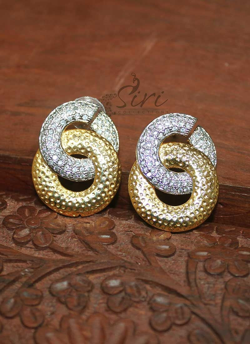 Designer Two Tone Polish Earrings