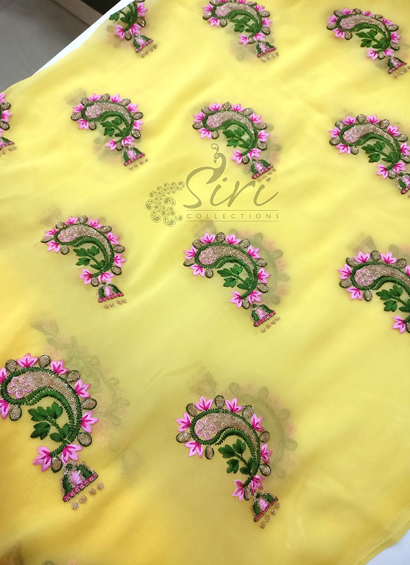 Designer Yellow Georgette Fabric in Jhumki Design Embroidery Work Butis Per Meter