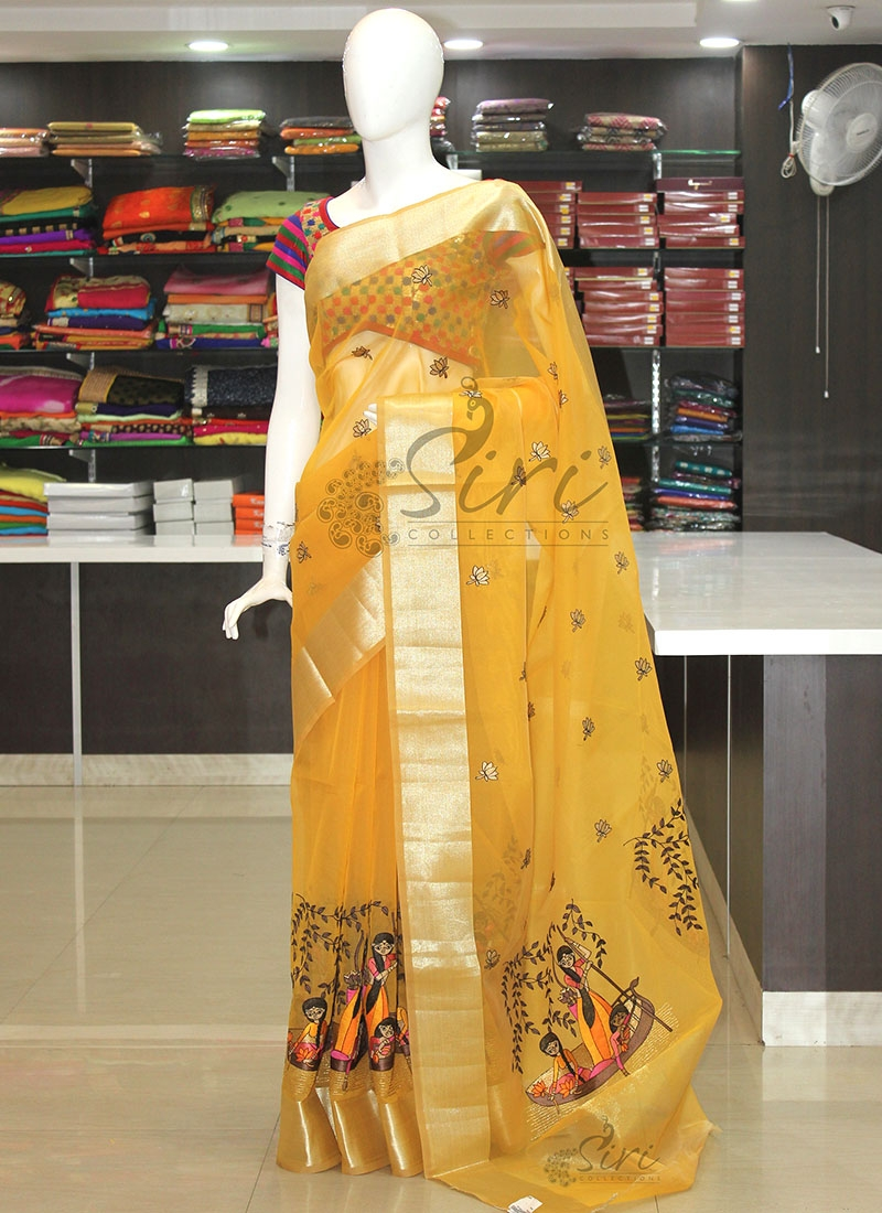 Designer Yellow Organza Saree in Lovely Embroidery Work