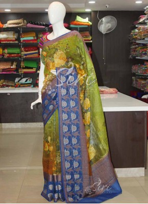 Digital Print Banarasi Linen Saree in Antique Zari Border