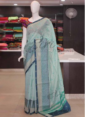 Digital Print Chanderi Cotton Silk Saree in Embroidery Work