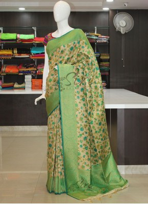 Digital Print Fancy Soft Banarasi Brocade Silk Saree