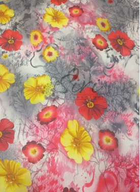 Digital Print Floral Design Crepe Fabric Per Meter