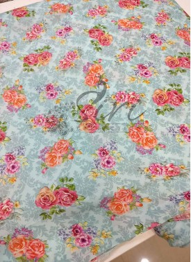 Digital Print Floral Design Satin Fabric Per Meter