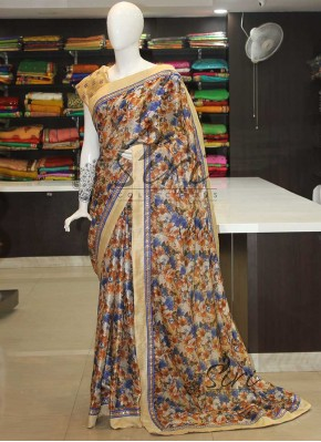 Digital Print Jute Saree in Fancy Borders