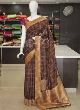 Digital Print Mixed Tussar Silk Saree with Banarasi Silk Borders and Pallu