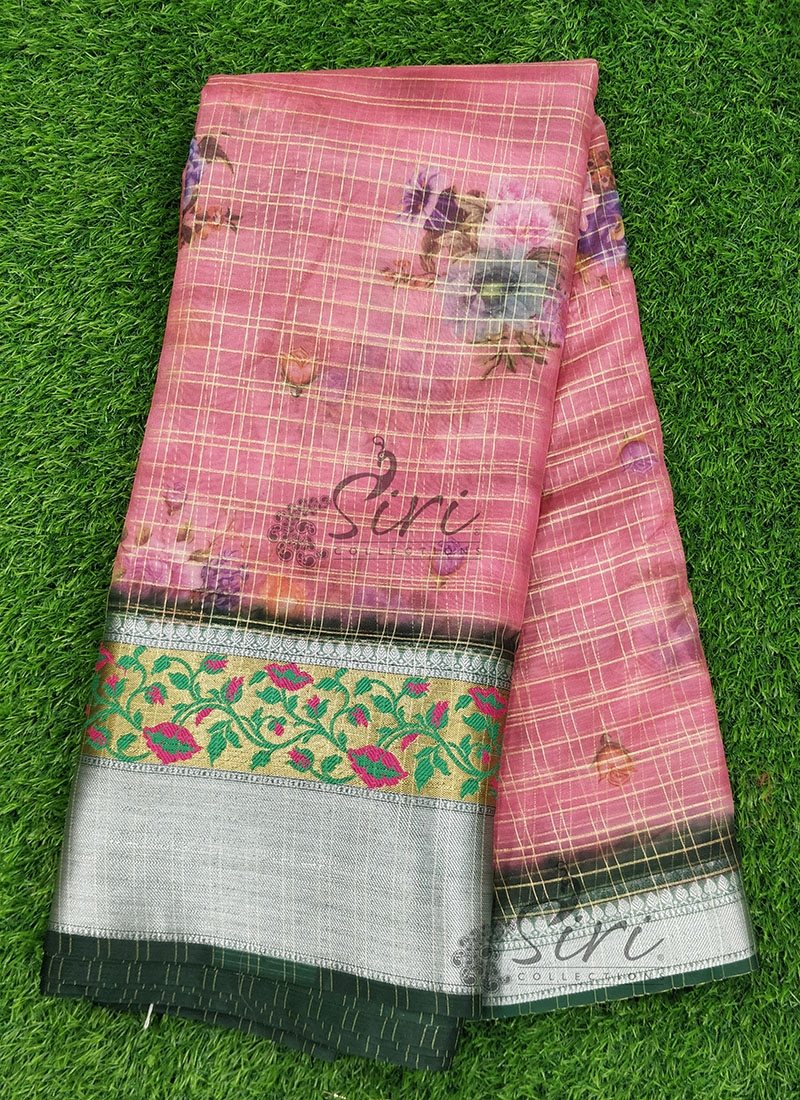 Digital Print Organza Checks Fabric with Paithani Gold and Silver Borders