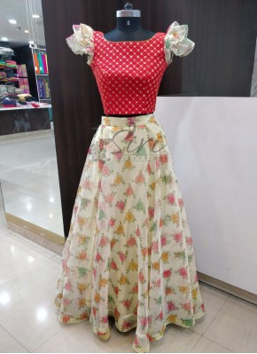 Digital Print Organza Lehenga with Red Raw Silk Crop Top
