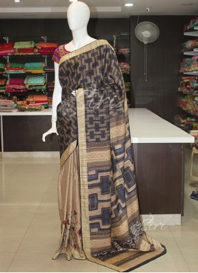 Digital Print Patli Pallu Tussar Silk Saree with Embroidery Work